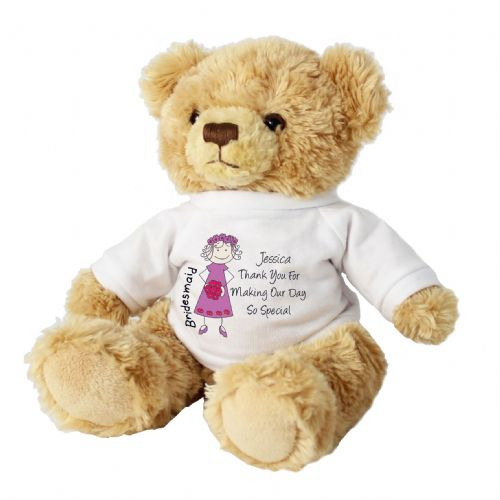Personalised Cartoon Bridesmaid Message Bear